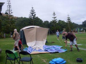 Erecting the tent.